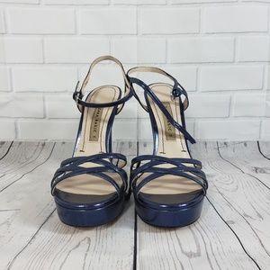 NWOT Zara Blue Strappy Wedge Heels Size